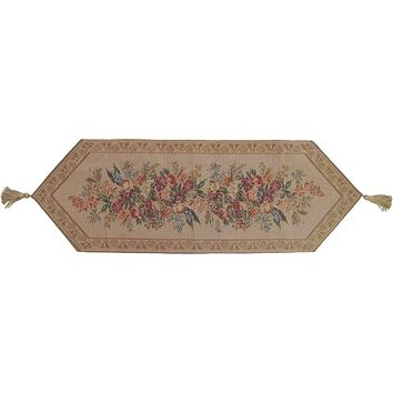 Wildflower Wonderland Floral Beige Tan Hand-Crafted Decorative Woven Place Mat Table Runners Cloths (3100)