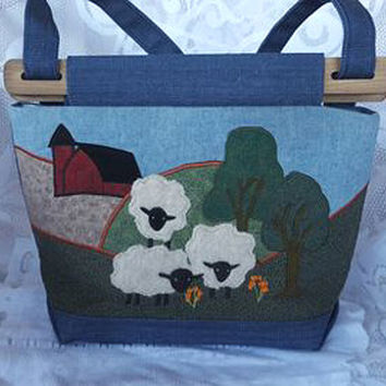 Denim Appliqued Handbag, Fabric Shoulder Bag, Hobo Tote Applique Bag,