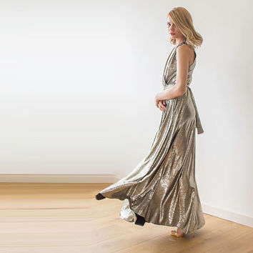 Metallic Maxi Dress, Maxi sleeveless dress with pockets, Engagement maxi gold dress , Maxi gold dress