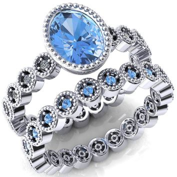 Borea Oval Aqua Blue Spinel Full Bezel Milgrain Diamond Accent Full Eternity Ring