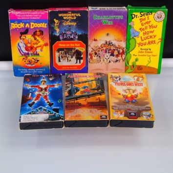 VHS Vintage Kids Classic Cartoons Lot of 7 Disney Universal Warner Paramount HBO