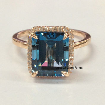 Topaz Diamond Engagement Ring,Emerald Cut 8x10mm London Blue Topaz 14K Rose Gold Diamonds Weddding Promise Bridal Ring,Halo Claw Prongs