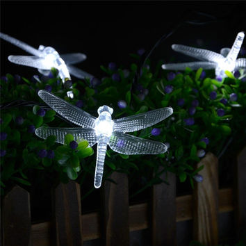 New lederTEK Solar Christmas Lights 19.7ft 6m 30 LED 8 Modes Solar Light String Dragonfly Solar Fairy String Lights for Outdoor
