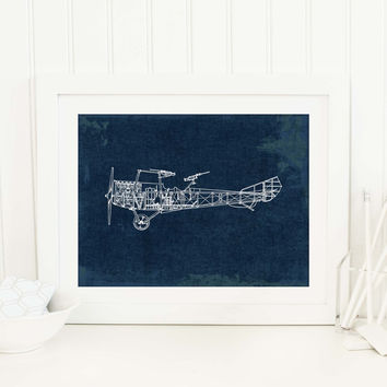 Airplane Chart Art Print, Travel Poster, Navy Nursery Decor, Aviation Print, Vintage Airplane Wall Art