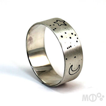 Constellation ring band, Orion the hunter ring, 8 mm (5/16) wide in sterling silver, zodiac sign ring band