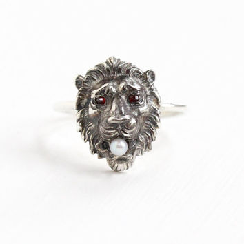 Antique Sterling Silver Lion Simulated Garnet and Seed Pearl Ring - Wild Cat Size 5 1/4 Stick Pin Conversion Ring Fine Jewelry, L&A