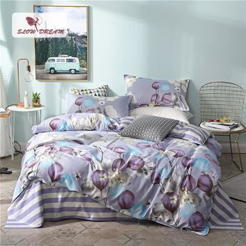 SlowDream Bedding Set Comforter Duvet Cover Bedspread Double Bed Sheets Bed Linen Set Adult Queen King Flower Purple Bedclothes
