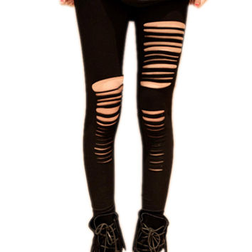 8 Pack Womens Cut Out Ripped Punk Skinny Pants Hollow Trousers Black Pencil