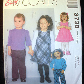 Toddler Jumper, Tops and Pants Size 1,2,3,4 McCall's 3738 Sewing Pattern