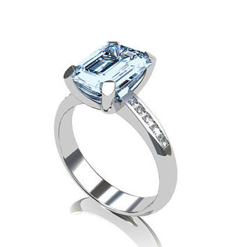 Aquamarine engagement ring, diamond, emerald cut aquamarine, engagement, blue, diamond ring, solitaire