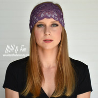 Purple lace headband, Wide boho headband, Ladies fashion headwrap, Womens stretch lace fabric headband, Bohemian turban,