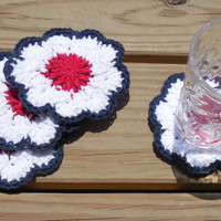Patriotic Drink Coasters, Crochet Cotton Coasters, Fourth of July Summer Party Decorations, Red White and Blue Coasters, Set of 4