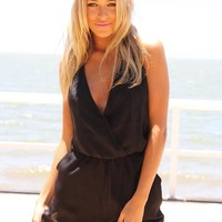 Black Open Back Halter Playsuit with Deep V-Neckline