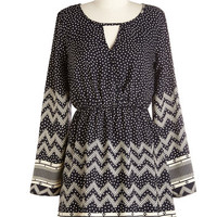 Short Length Long Sleeve A-line Stroll and Tell Dress in Navy