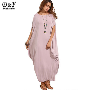 Dotfashion New Dress 2017 for Women Casual Dresses High Quality Women Fashion Dress Pale Purple Dolman Sleeve Maxi Dress