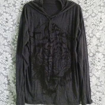 Big size shirt hood t shirt Size XL/XXL one size dark grey face bengal tiger tee wrinkle shirt/ animal print/ forest/ festival clothing