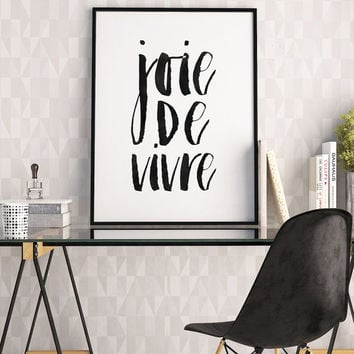 JOIE DE VIVRE, French Phrase,French Quote, Enjoyment Of Life,Kitchen Decor,Quote Prints,Typography Poster,Quote Art,Watercolor Print,Quotes
