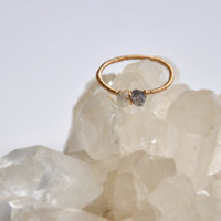 Gold filled gemstone ring, wire gemstone ring, blue gemstone gold-filled ring, gold-filled quartz ring, wrapped gemstone ring