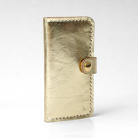 Gold Leather Iphone 5 Wallet Iphone 5 / 5s Case, Minimal Personalized, Cow Leather, Handmade Hand-stitched, Metallic Gold