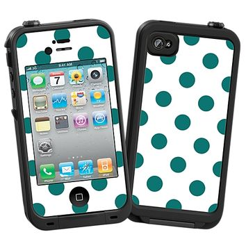 Ocean Teal Polka Dot on White Skin for the iPhone 4/4S Lifeproof Case by skinzy.com