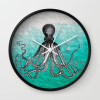Antique Nautical Steampunk Octopus Vintage Kraken sea monster ombre turquoise blue pastel watercolor Wall Clock by IGalaxy
