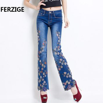 FERZIGE Jeans Women Jeans with Embroidery Beads High Waist Slim Pants Bell Buttom Stretch Jeans Rhinestones Embroidered Trousers