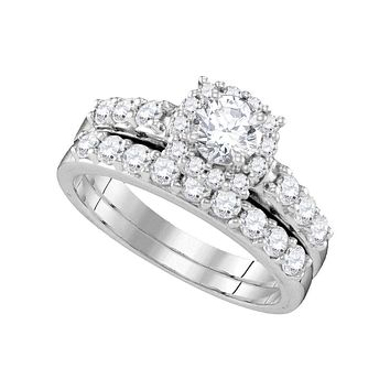 14k White Gold Women's Round Diamond Halo Bridal Wedding Engagement Ring Band Set 1-1/2 Cttw - FREE Shipping (US/CAN)