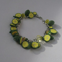 Lime bracelet Tropical fruits lime green bracelet Polymer clay jewelry in green and yellow, Lime slices bracelet
