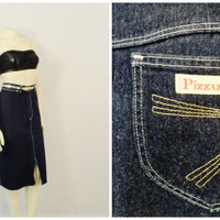 Vintage Skirt 70s 80s Dark Denim Jean Skirt Pizzazz Star Burst Pocket Modern Medium