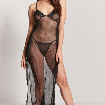 Sheer Dotted Mesh Slip & Thong Set