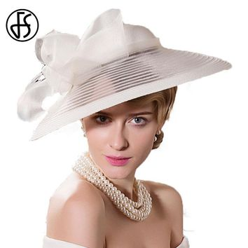 FS Elegant Women Large Brim White Wedding Hats For Women Bowknot Decoration Church Banquet Party Fedora Hat