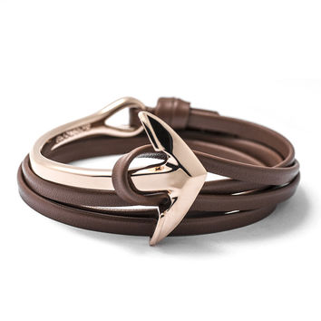 Rose Gold Anchor Half-cuff On Brown Leather Bracelet
