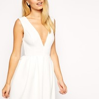ASOS Scuba Skater With Plunge Neck Dress
