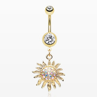 Golden Blazing Tribal Sun Sparkle Belly Button Ring