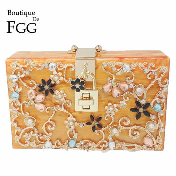 Flower Crystal Beaded Acrylic Women Orange Evening Bag Wedding Purse Party Box Clutch Bag Chain Shoulder Handbags Crossbody Bags