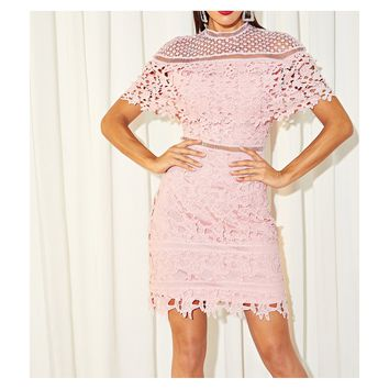 Pink Short Sleeve Bodycon Crochet Lace Cocktail Dress