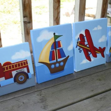 Set of 4 Transportation Boys Bedroom Stretched Canvases Kids Playroom Baby Nursery CANVAS Bedroom Wall Art 4CS010