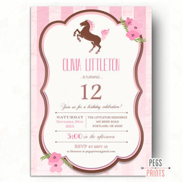 Horse Birthday Invitation // Printable Cowgirl Birthday Invitation // Cowgirl Birthday Invites // Printable Horse Birthday Party Invitation