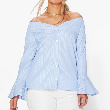 Plus Kia Striped Bardot Shirt | Boohoo