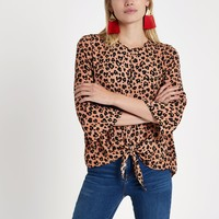 Brown leopard print tie front top - Blouses - Tops - women
