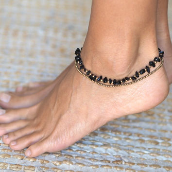 Women Anklet // Ankle Bracelet for Women // Beach Anklet // Brass and Black Onyx Anklet