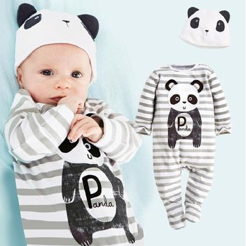Panda Baby Rompers Caps Boys Clothing Set Toddler Hat One-Pieces Suits Overall Grey baby boy clothes bebe jumpsuit