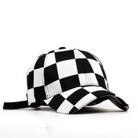 Unisex black and white checker retro  hat