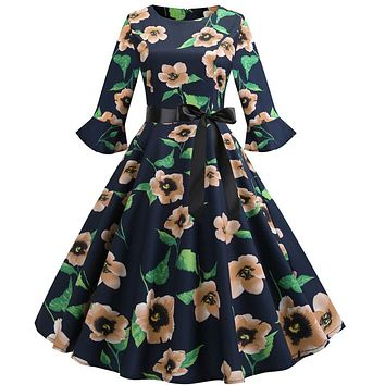 Autumn Print Newest Women Three Quarter Sleeve Printing Vintage Gown Evening Party Midi Dress