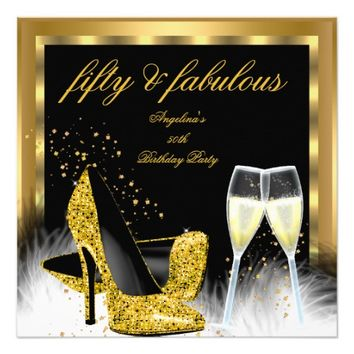 Fabulous 50 Gold Champagne High Heels Birthday 5.25x5.25 Square Paper Invitation Card