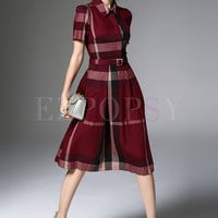 British Hit Color Grid Print Lapel A-Line Dress With Belt