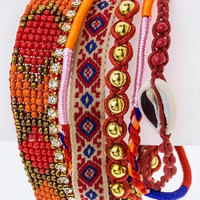 Mix Beads Boho Layer Red Magnetic Bracelet
