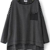 Black Round Neck Striped Pocket Knitwear