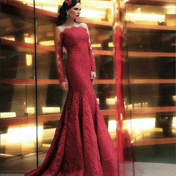 Long Sleeve Lace Red Mermaid Prom Dresses Evening Dresses