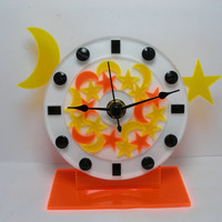 Space clock Moon and Stars  clock with orange and yellow stars and moons desk shelf clock acrylic